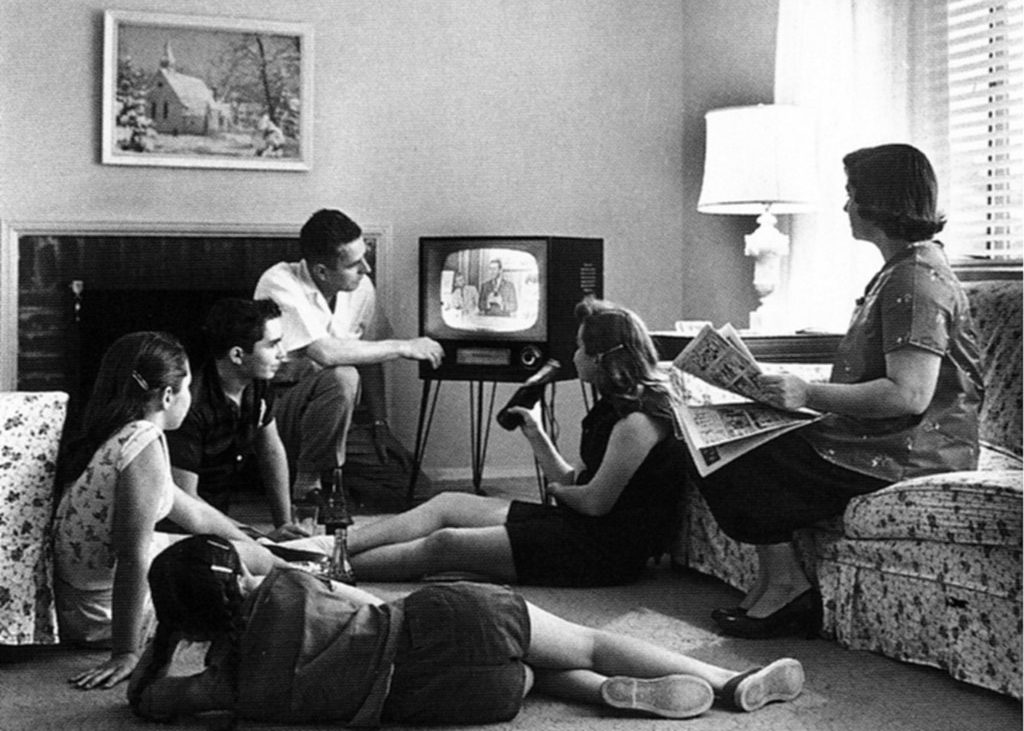 1950's family watching television