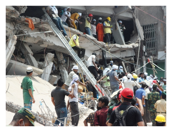 2013 Collapse of Rana Plaza clothing manufacturing complex Bangladesh. Image: Wikimedia Commons